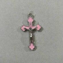 DIY Розовый цвет капля масло сплав религиозный крест церковь распятие таинство Святого руда Иисуса кулон ожерелье Jesu сувенир на память