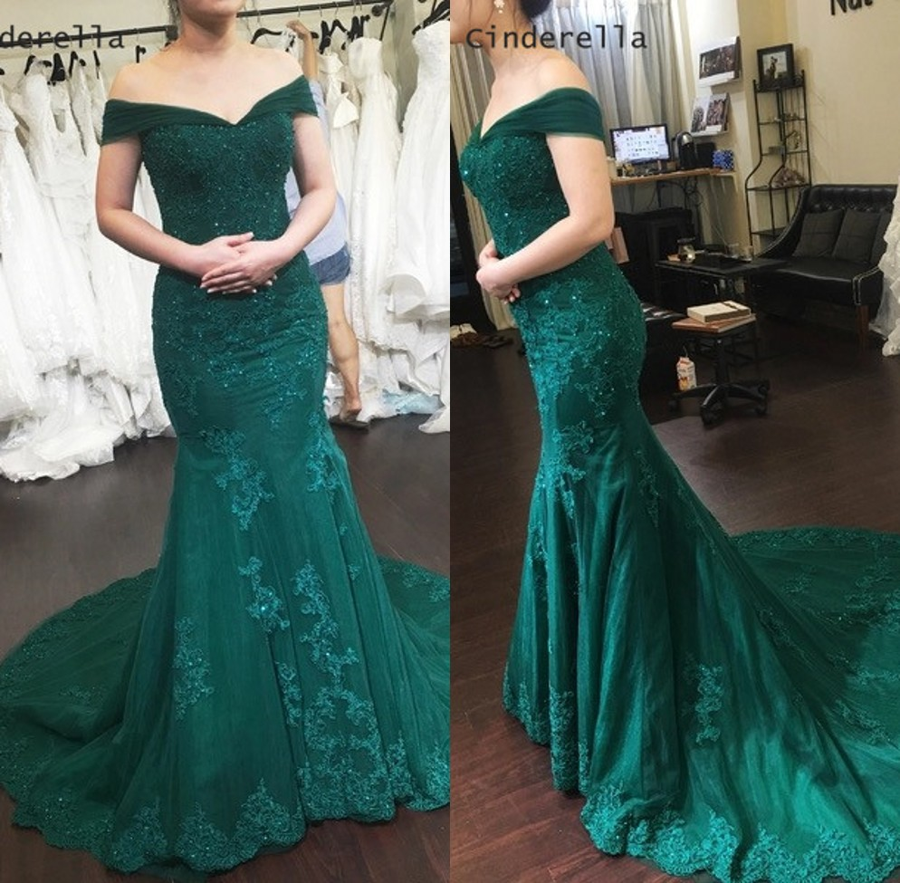 Cinderella V-Neck Off The Shoulder Lace Applique Crystal Beaded Soft Tulle Mermaid   Prom     Dresses   Luxury Green Party Gown For   Prom