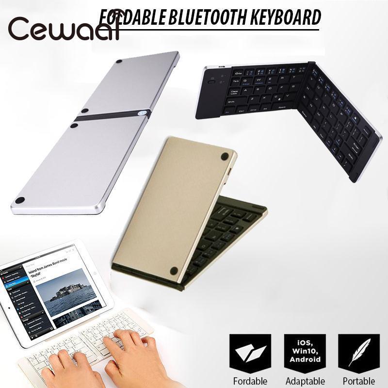 CEWAAL Ultra Thin Slim Foldable Wireless Keyboards Keypad For Laptop Tablet Mobilephone Wireless Bluetooth Keyboard silver gold
