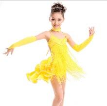 Kinder Kinder Pailletten Leistung Wettbewerb Ungleiche Cocktail Latin Dance Kostüm/Latin Dance Kleid für Mädchen