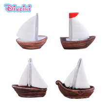 4pcs White Sailing Boat Figures Miniature 3D model Figurines Decoration Dollhouse Toys Children Birthday Gifts DIY Accessories
