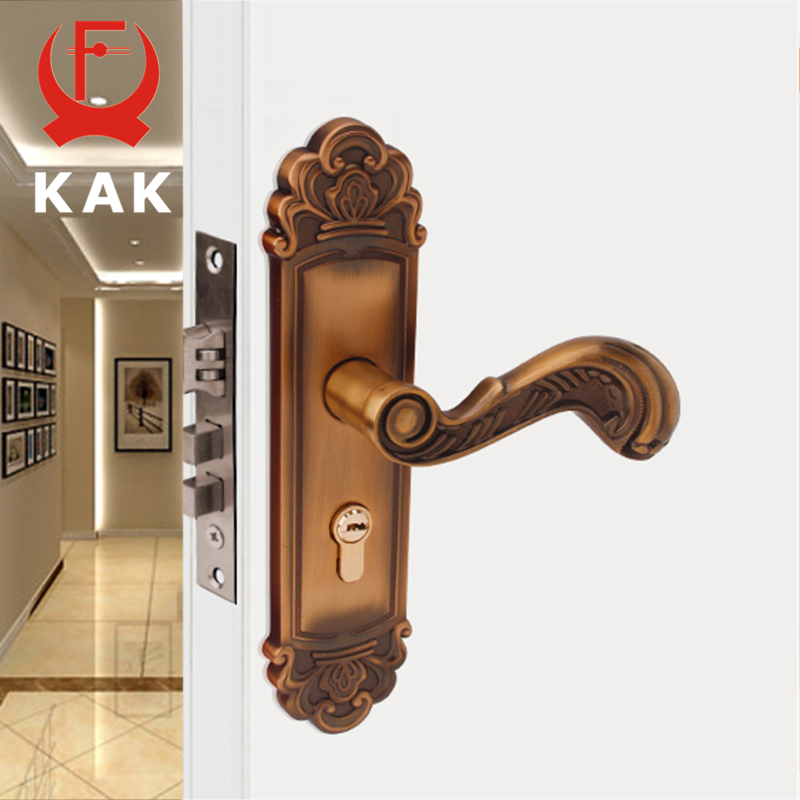 KAK Vintage Mute Room Door Lock Aluminum Alloy Interior Door Handle Lock European style Anti-theft Gate Lock Furniture Hardware цена