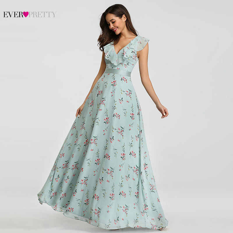 ... Bridesmaid Dresses 2019 Ever Pretty EP07241 Long Floral Chiffon A-line V -neck Spring ... 181557e71024