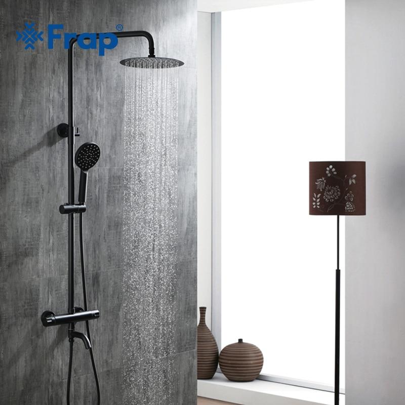 Frap bateria łazienkowa bateria wannowa prysznic wodospad głowice prysznicowe kran z mieszaczem zestawy do kąpieli prysznicowej czarne baterie prysznicowe
