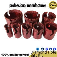 Diamond hole bits brazing stone marble tile glass drill bits kit M14 for home decoration use at good price with box