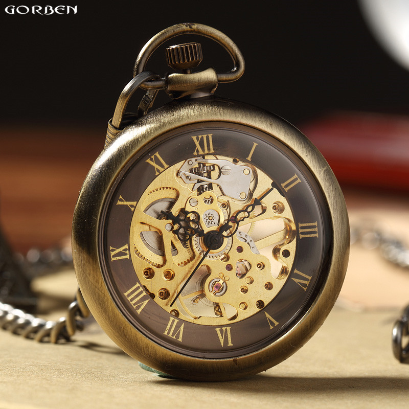 Vintage  Bronze Roman Numbers Mechanical Pocket Watch For Men Women With FOB Chain Retro Skeleton Hand-winding Pocket Watch