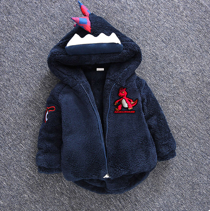 Hot Sale 1-3-5 Years Old Baby Boys Girls Winter Cotton Padded Jackets Children Dinosaur Costume Dress Child Hooded Clothing