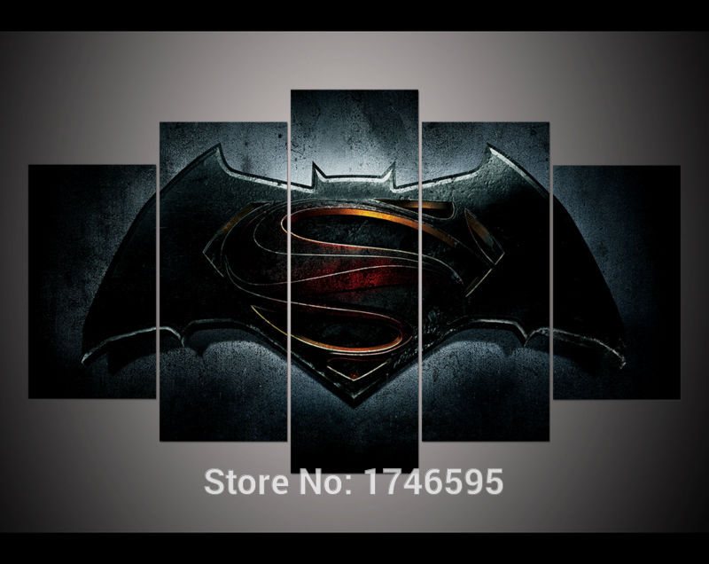 Print Batman V <font><b>Superman</b></font> dawn of justice Movie <font><b>logo</b></font> <font><b>poster</b></font> Painting on Canvas art kids children wall decor picture /PT0082 image