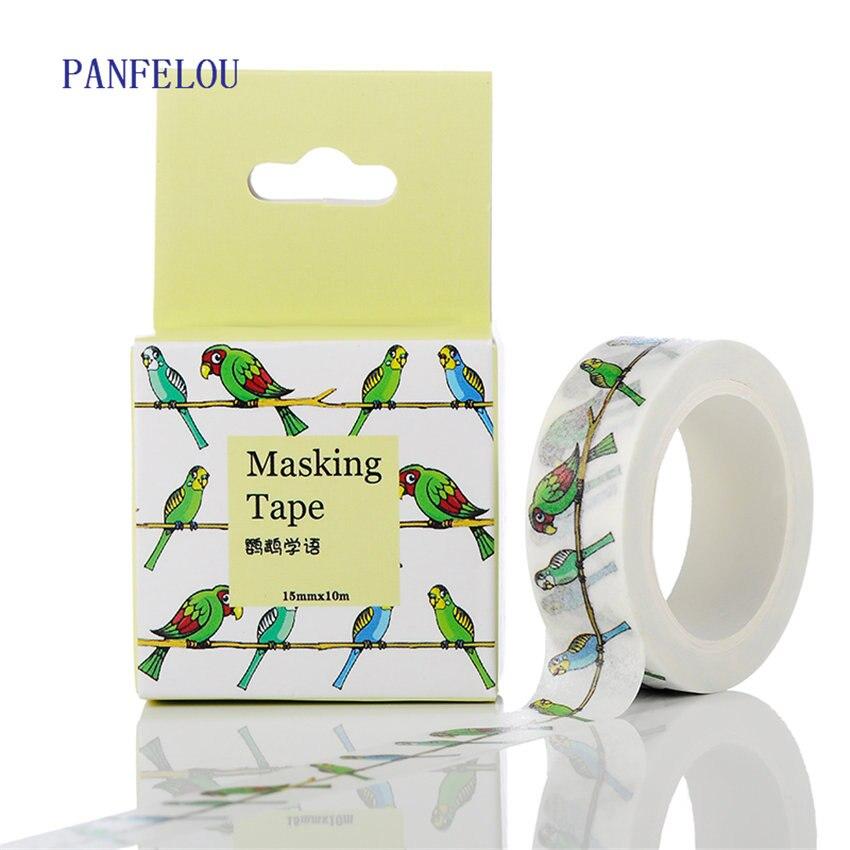 PANFELOU 1.5CMx10M The Parrot Cartoon Stickers Border Masking Adhesive Line Paper Washi Tape DIY Scrapbooking Hand Account