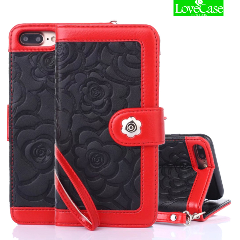 LoveCase Téléphone Cas Pour iPhone 7 8 6 S Plus Cas De Luxe camélia En Cuir Flip Téléphone Sacs Pour iPhone 7 plus 8 plus Femmes Couverture cas