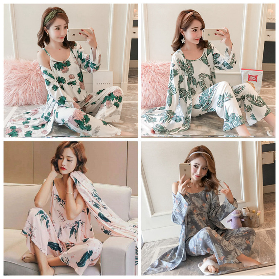 HTB13jfkbG1s3KVjSZFAq6x ZXXar - JULY'S SONG Woman Pajamas Set Sling Cotton Pajamas 3 Peices Sleepwear For Women Long Sleeves Breathable Sexy Robe Homewear