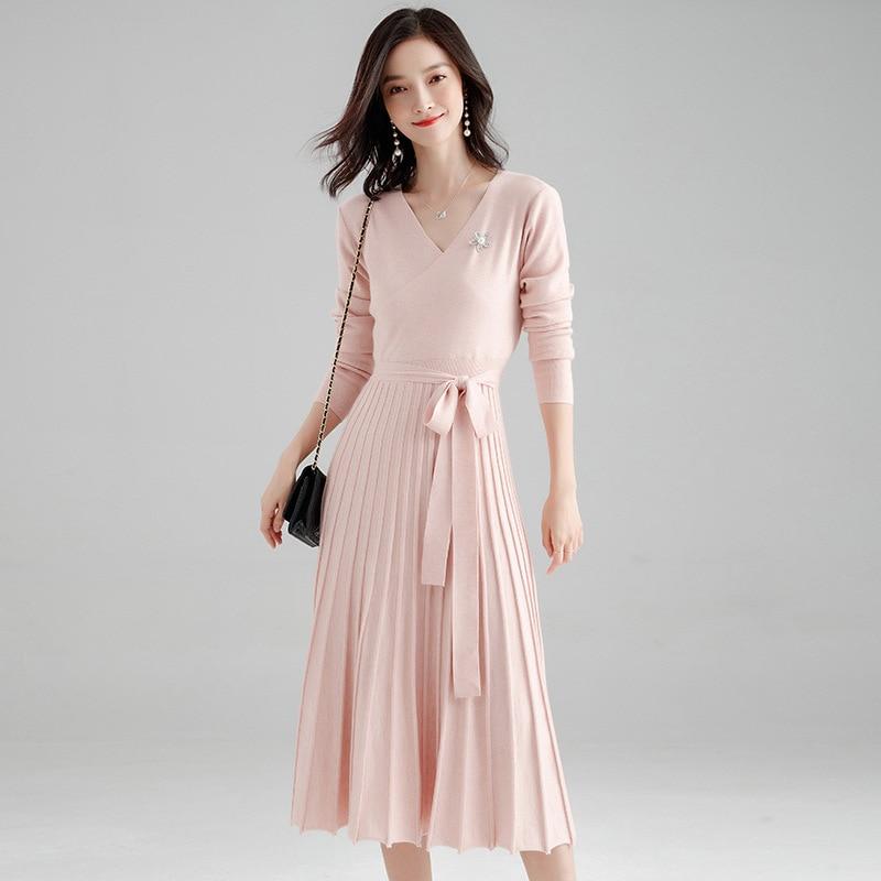 Makuluya décontracté casual extensible robes plissées à manches longues bureau dame Vintage chandails pull ceintures tricoté col en v laine QW
