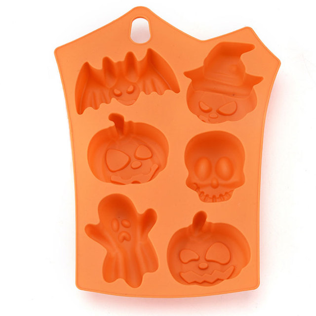6 Cavity Halloween Silicone Cake Mold Decor Ice Cubes Tray Soap Chocolate Baking Mould Kitchen Tools 1