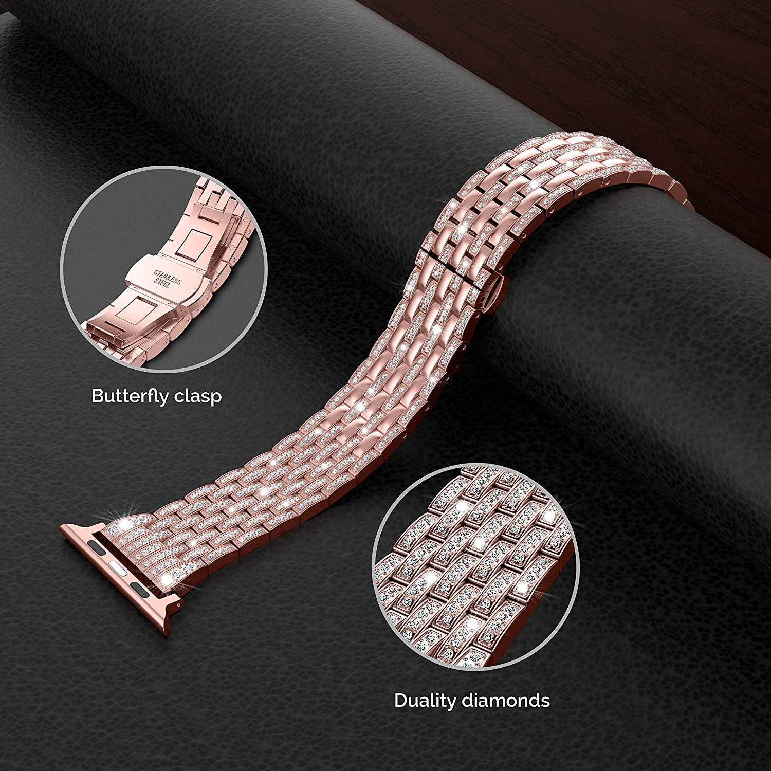 Luxury Rhinestone Diamond Strap for apple watch 44mm 42mm 40mm 38mm Stainless Steel Metal Watch Band For iWatch series 5 4 3 2 1