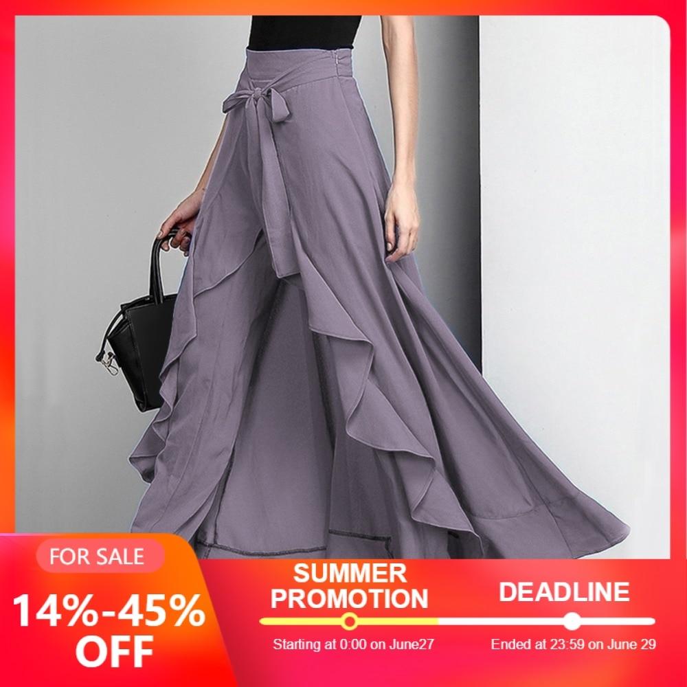 Women Chiffon Tie-Waist Ruffle Palazzo Pants Pure Color Irregular Hem Long Pants