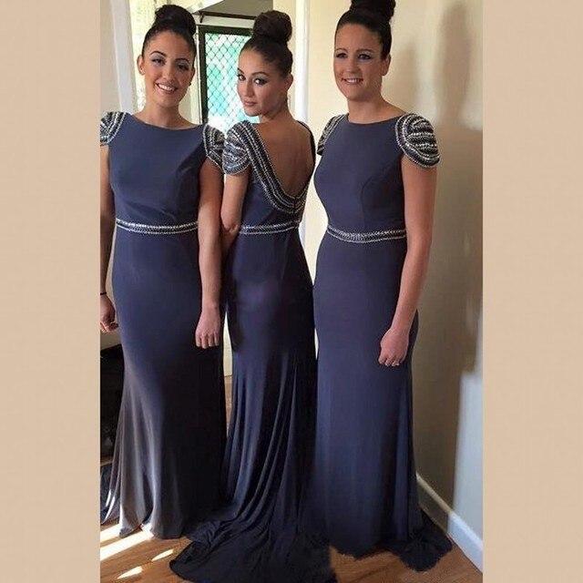 Elegant Beading Cap Sleeves Bridesmaid Dresses Navy 2016 Chiffon