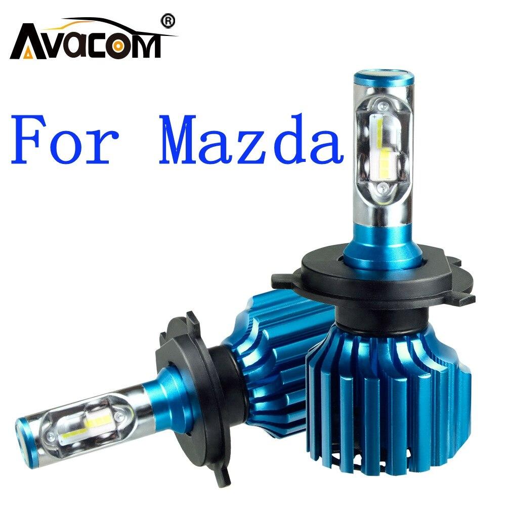 Светодиодные лампы для фар Avacom, 2 шт., 12 В, CSP, 6500K, 12000 лм, 72 Вт, противотуманные фары DRL для Mazda 3/6/CX5/323/B2200/MPV/929