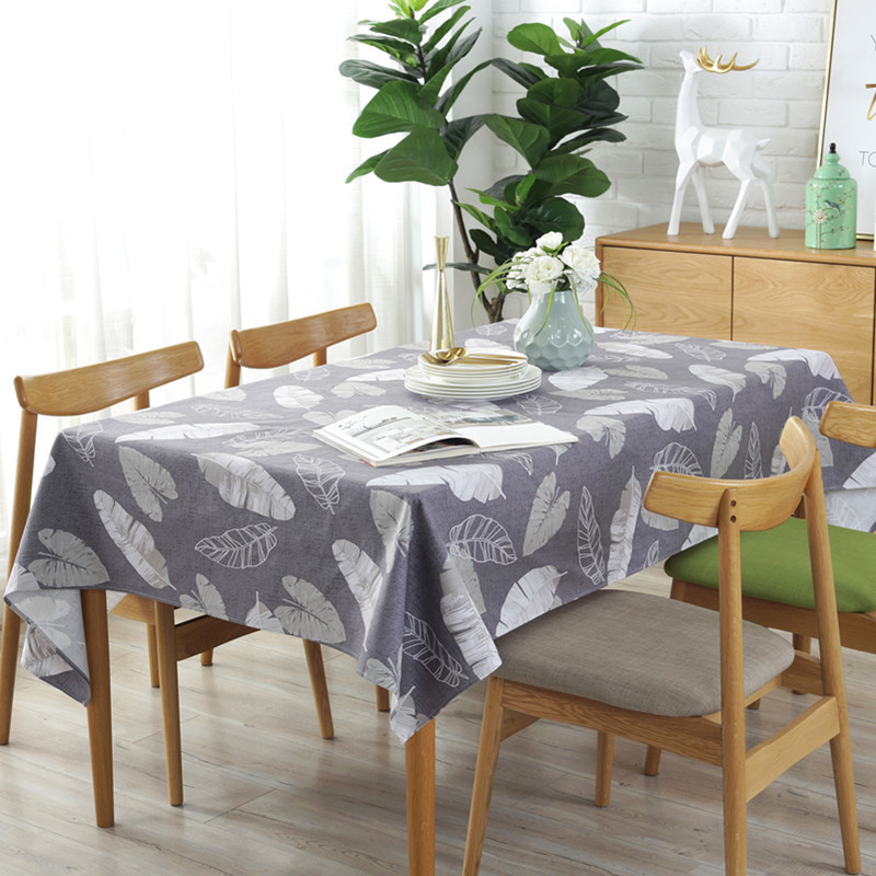 Nordic Tablecloths 2019 Sale Gray Feather Leaf 100% Cotton Rectangular Table Cloth Thicken Cover For Banquet Party Picnic