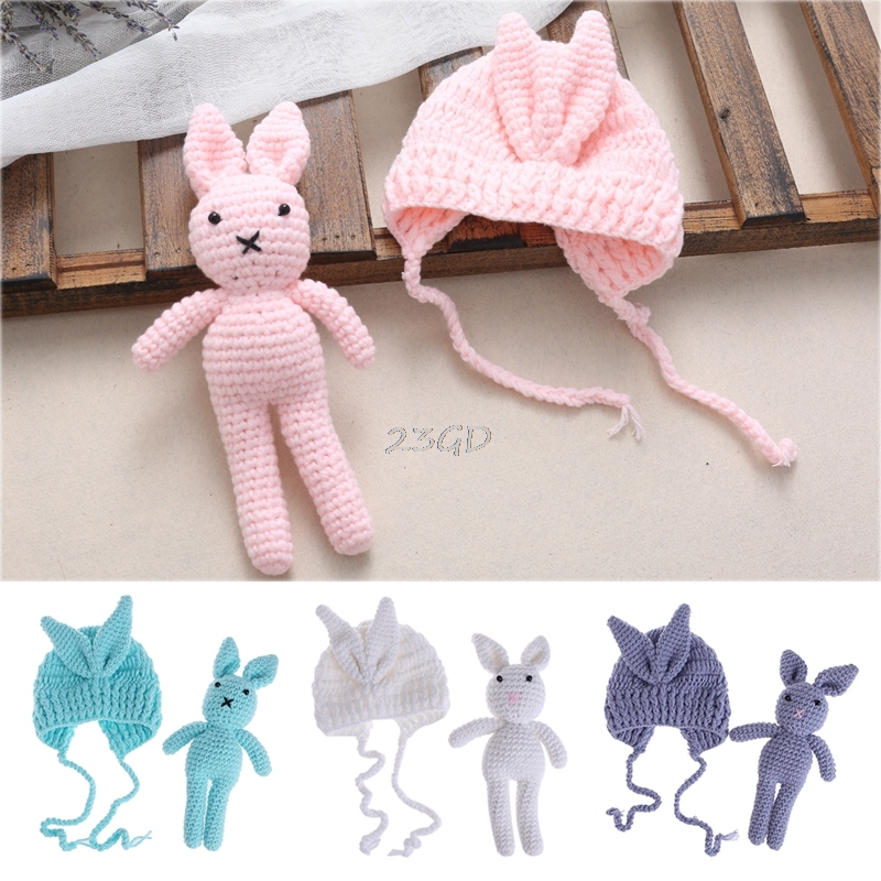 2017 Cute Newborn Baby Girl Boy Knit Crochet Hat Rabbit Toy Photography Prop Outfit Gift  may10_35 cute newborn baby girls boys crochet knit costume photo photography prop outfit one size baby bodysuit hat 2pcs