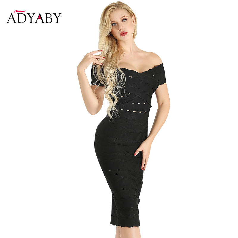 White Black Dress Midi Summer 2019 Off Shoulder Bandage Dress Bodycon Hollow Out Sexy Party Women