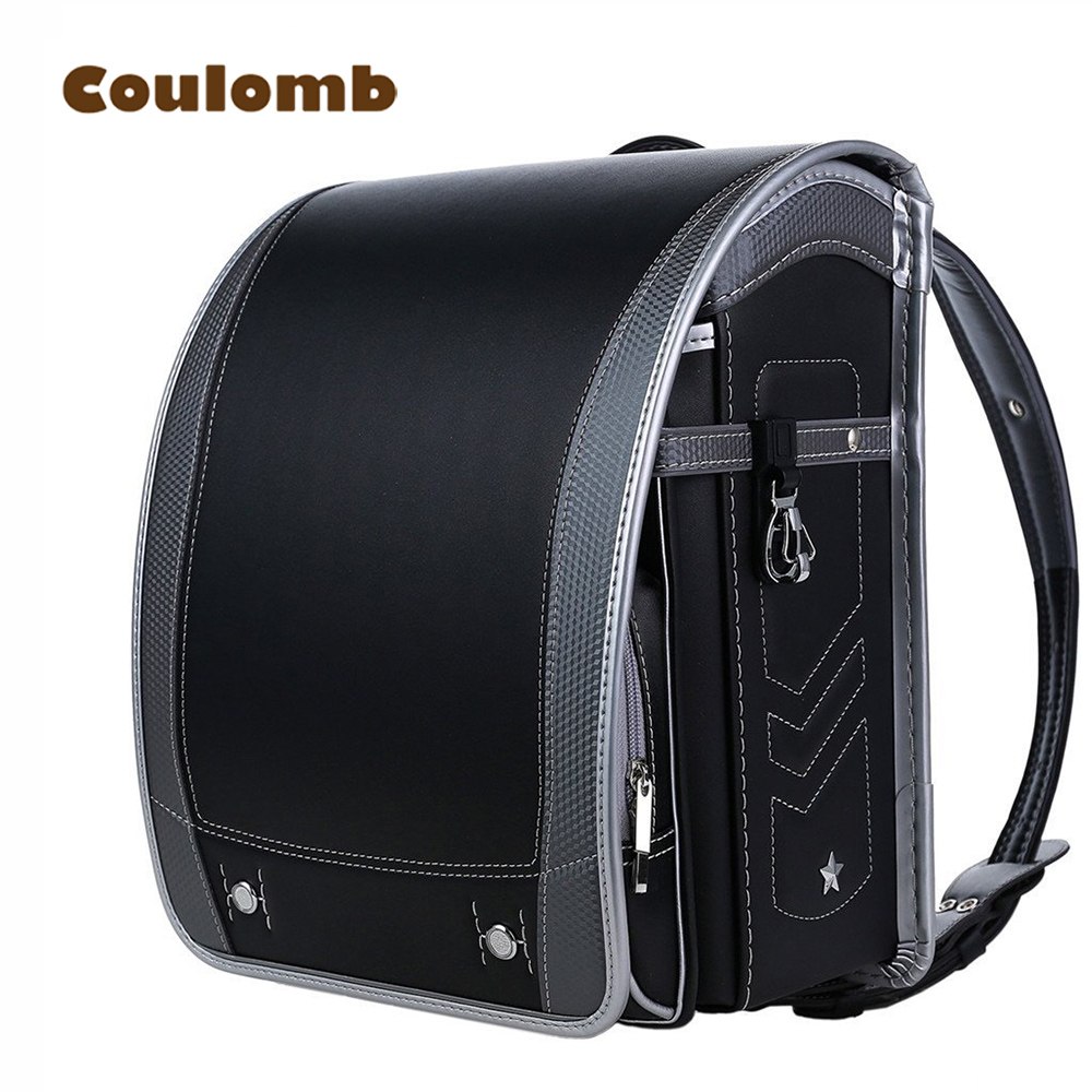 School bag box type - Coulomb Children Orthopedic Backpack For Boy And Girl Five Star Pu Leather School Bags For Kids