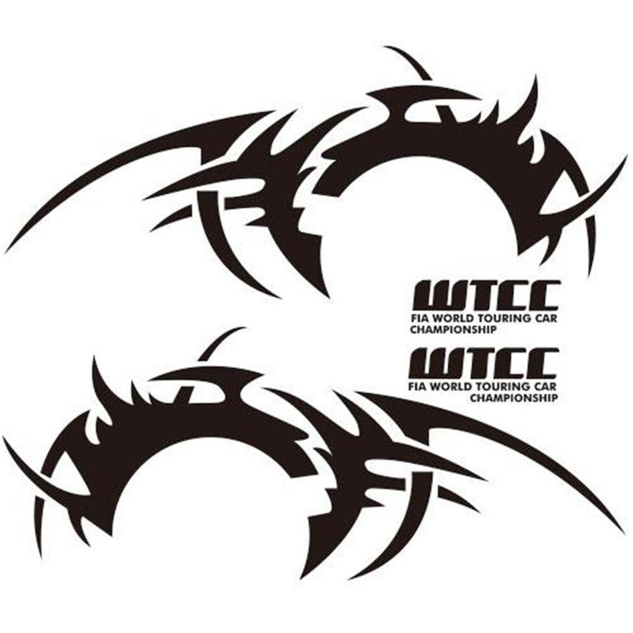 2pcs sports racing race car long wheel eyebrow flame hot wheel stripe car side body diy waterproof vinyl decal sticker