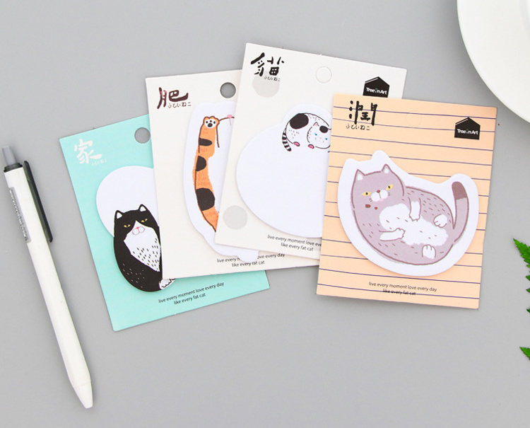 1pcs Cartoon fat cat Self-Adhesive Memo Pad Sticky Notes Post It Bookmark School Office Supply papelaria