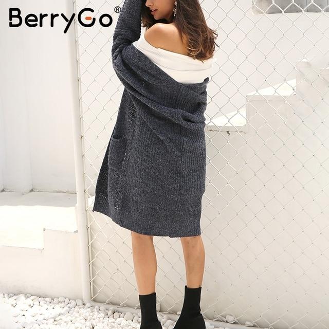 BerryGo Winter knitted sweater long cardigan Women autumn long sleeve pocket cardigan Casual streetwear loose sweater jumper 2