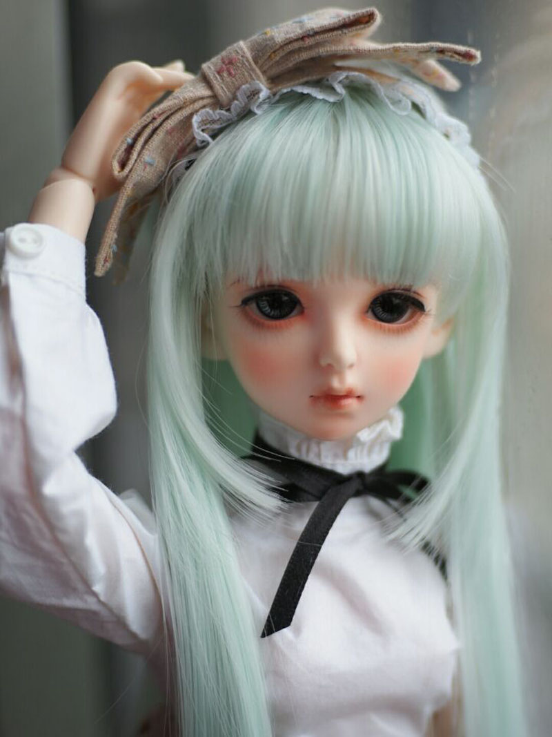 1/3 1/4 1/6 Bjd SD Doll Wigs High Temperature Wire Long Green Colors Synthetic Doll Wig For Dolls Accessories