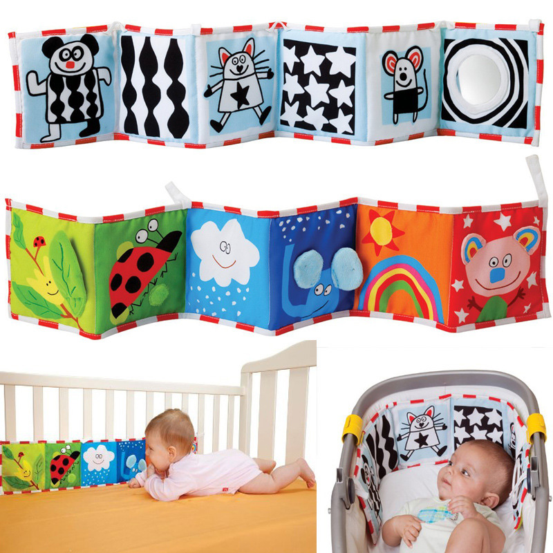 Baby Toys Crib Bumper Cartoon Animal Cloth Book Baby Rattle Knowledge Around Educational Toys For Children Colorful Bed Bumper