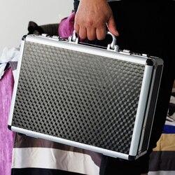 Caso de ferramentas de alumínio mala caixa de arquivo caixa de senha resistente ao impacto caso de segurança equipamento caso da câmera com pré-corte de espuma