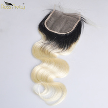 Ross Pretty Remy Pre Plucked Lace Closure Peruvian hair Body Wave human hair Ombre 1b Blonde closure Ombre Color 1b/613 цена 2017