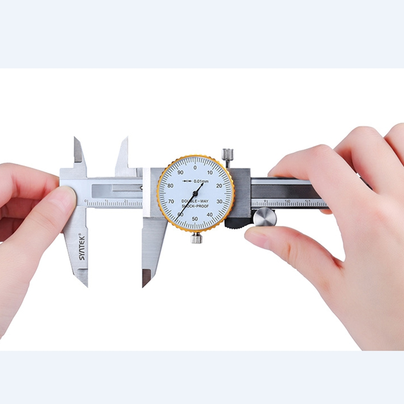 0-200mm/<font><b>8</b></font> Inch Metric Gauge Measuring Tool Dial vernier caliper Shock-proof Stainless Steel Vernier Caliper 0.01mm Dial Calipers image