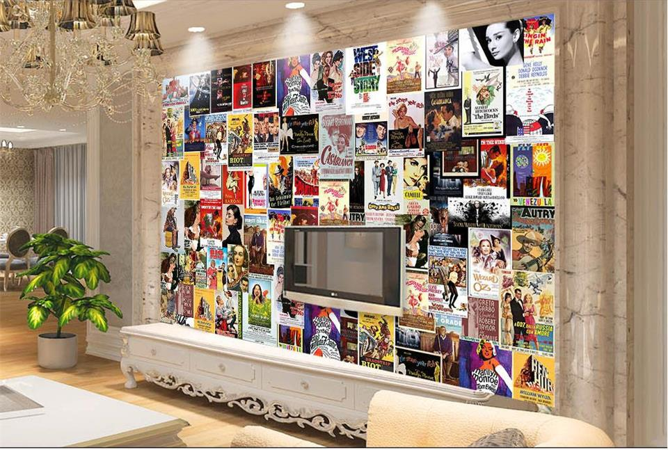custom photo 3d wallpaper mural non-woven Movie posters retro TV background wall painting living room wallpaper for walls 3d free shipping european corridor wall painting background wallpaper hawaii non woven wallpaper mural