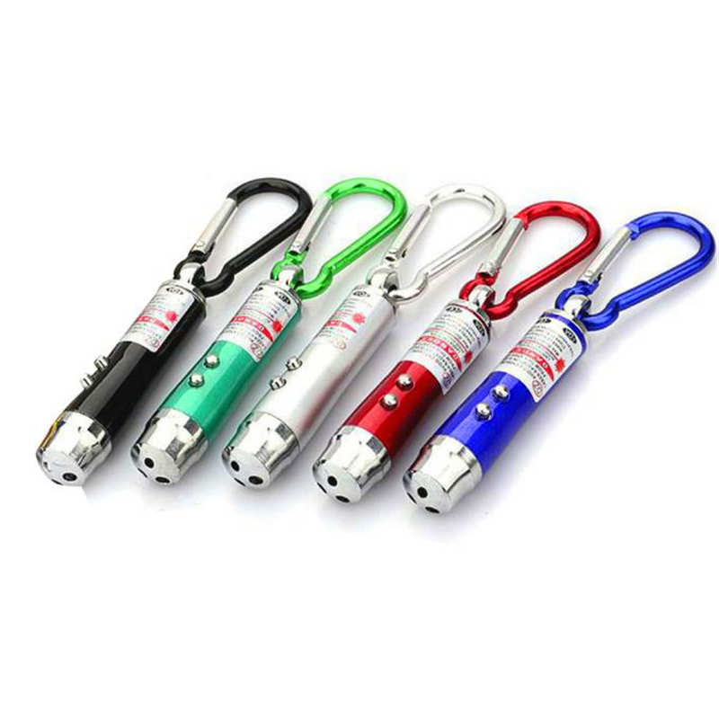 Mini Red LED Laser 3in1 Pointer 2 LED Flashlight UV Torch With Keychain Pet PURP
