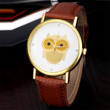 Brand Famous Female Clock Women Girl Gold Owl Pattern Wrist Watches Leather Quartz Watch Montre Femme Relogio Feminino#2806