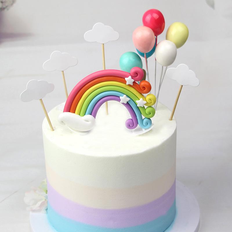 Wondrous Colorful Rainbow Cake Topper Happy Birthday Kids Cake Cloud Funny Birthday Cards Online Alyptdamsfinfo