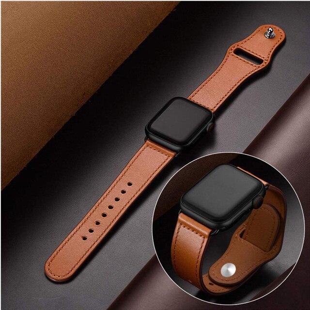 Из натуральной кожи петлевой ремень для apple watch 4 ремешок 42 мм, 38 мм, correa, ремешок для наручных часов iwatch, версия ремень 44 мм 40 мм 3/2/1