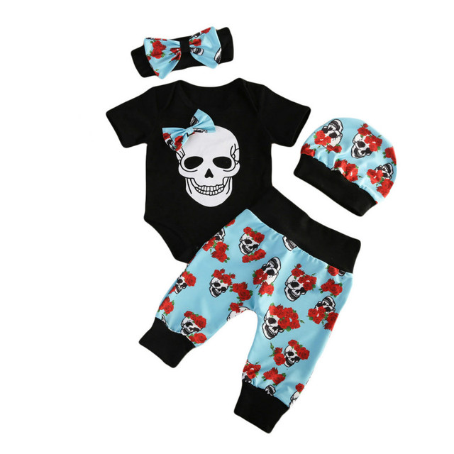 06ac7b36b Newborn Kids Baby Boys Girls Halloween Clothes Costumes Cotton Skull Head  Floral Bowknot Romper Tops Long Pants 3Pcs Outfit Sets-in Clothing Sets  from ...