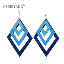 GZBEIYANG Geometric Wooden Multilayer Gradient hollow out rhombus Pendant Earrings for African Fashion Women Jewelry Earrings все цены