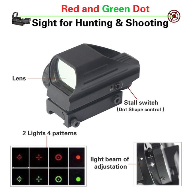 Tactical Red/Green Holographic Dot Sight 4 Reticle Airgun Rifle Reflex Sight Scope Outdoor Hunting With 20mm Rail Mount.
