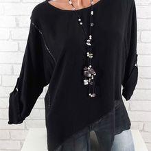 Large size Women Blouse 2019 spring new stitching loose chiffon irregular round neck size plus Shirt cute plus size scoop neck bird pattern blouse for women