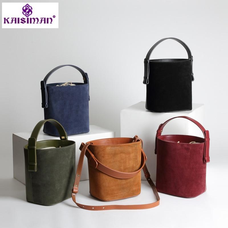 2018 Lady Genuine Leather Bucket Bag Casual Solid Shoulder Messenger Bag Cow Leather Women Bag Designer Handbags High Quality