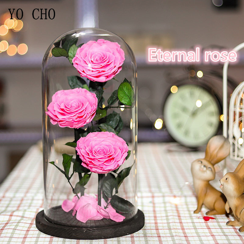 Natural Fresh Preserved Flowers in Glass Dome Flower Immortal Rose for Wedding Decoration Valentines Day New Year Gift Love