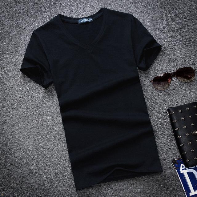 Fashion Summer Men T Shirt Cotton V Neck Plus Size S-5XL