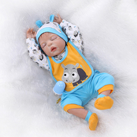 Boy Baby Doll Simulate sleeping babies Hand Made animal print clothes Bibs 56cm Lifelike toy Gift for Children