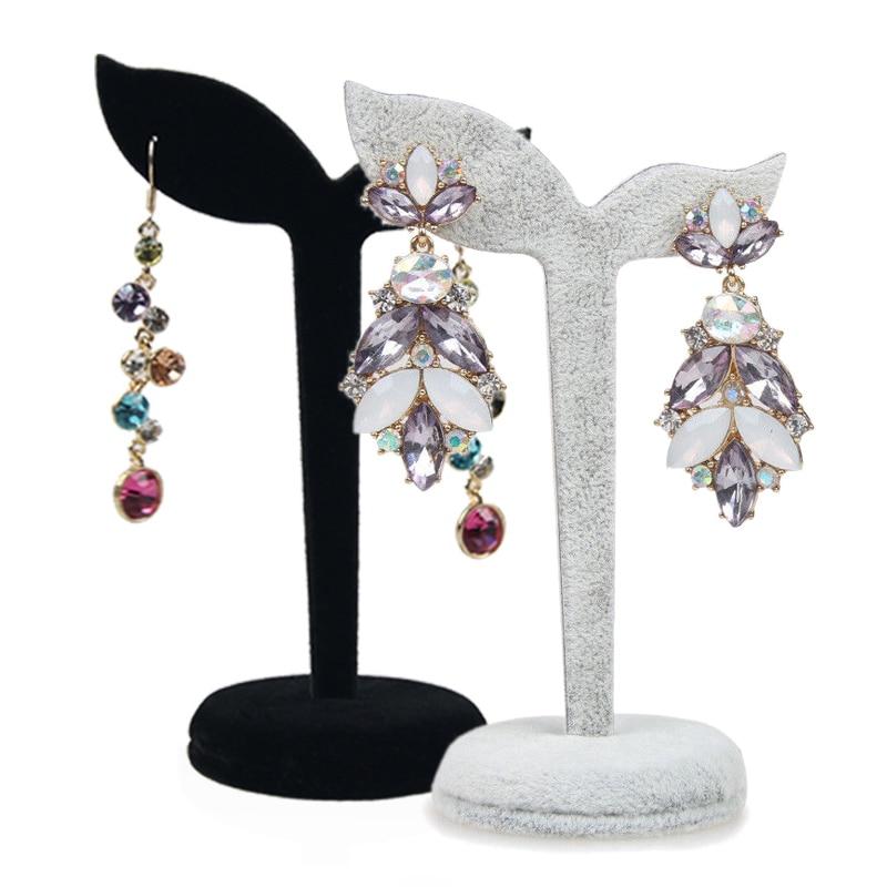 Black/Grey Velvet Earring Display Stand Props Stud Earrings Holder Rack Storage 12cm*7cm