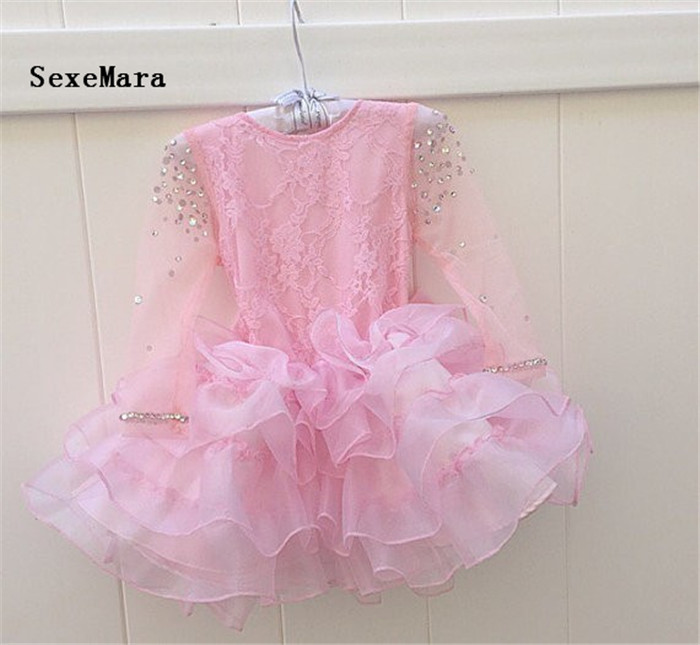 2019 Cute Pink Baby Girl First Birthday Dresses with Pearls Bow Girls Long Sleeves Dresses for Wedding Party Free Shipping2019 Cute Pink Baby Girl First Birthday Dresses with Pearls Bow Girls Long Sleeves Dresses for Wedding Party Free Shipping