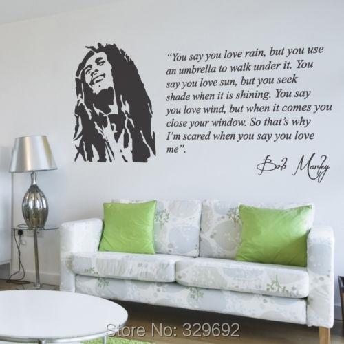 Mouse over image to zoom Bob Marley Lyrics You Say You <font><b>Love</b></font> <font><b>Rain</b></font> Wall Sticker Decal Vinyl Wall Art Mural tx-183