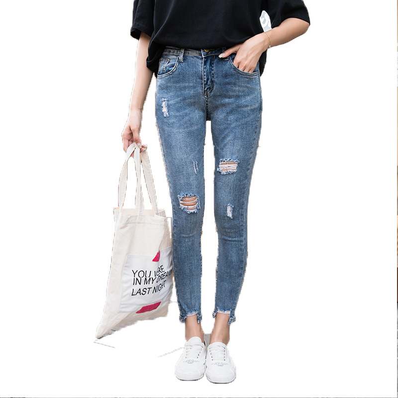 Hole Ripped Jeans Women Boyfriend Denim Vintage High Elastic Waist Casual Pants Female Slim Pencil Pants Plus Size
